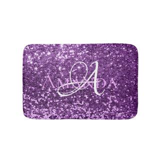 Ultra Violet Purple Glitter Name Monogram Bath Mat