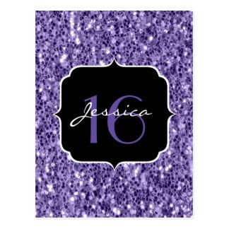 Ultra violet purple glitter sparkles Sweet 16 Postcard