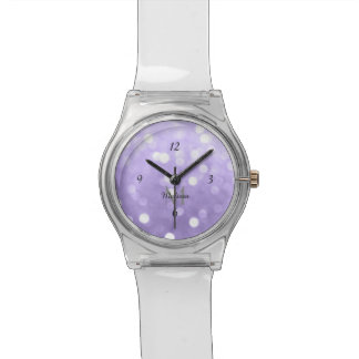 Ultra violet purple sparkly bokeh Monogram Watch