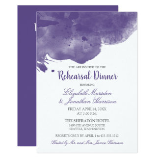 Ultra Violet Watercolor Love Rehearsal Dinner Card