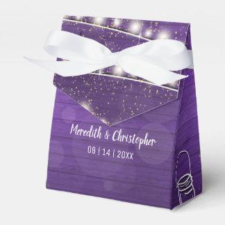Ultra Violet Wood String Lights Mason Wedding Favor Box