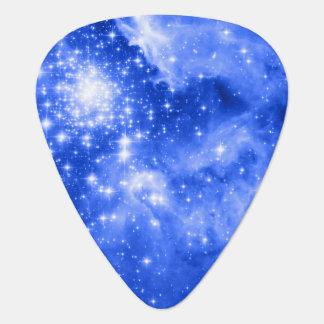 Ultramarine Blue Colored Stars Guitar Pick