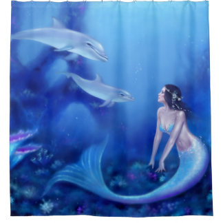 Ultramarine Mermaid and Dolphins Shower Curtain