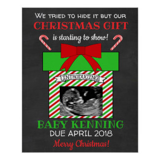 Ultrasound Christmas Pregnancy Announcement Poster