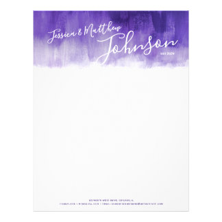 Ultraviolet modern art newly weds letterhead