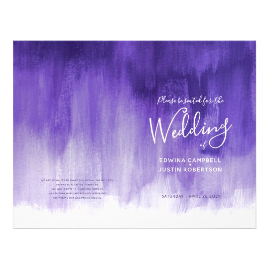 Ultraviolet purple abstract art wedding programme flyer