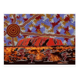 Uluru - Authentic Aboriginal Art Postcard