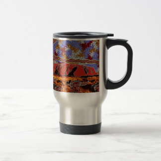 Uluru - Authentic Aboriginal Art Travel Mug