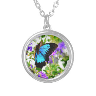ULYSSES BUTTERFLY QUEENSLAND AUSTRALIA SILVER PLATED NECKLACE