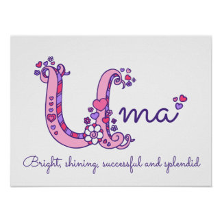 Uma initial doodle art name meaning poster