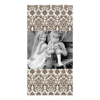 Umber and Ivory Elegant Damask Pattern Custom Photo Card
