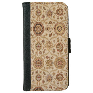 Umber Tawny Floral Persian Tapestry Design iPhone 6 Wallet Case