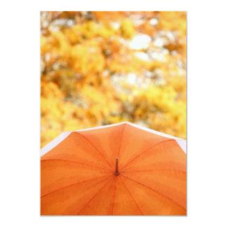 "Umbrella and Autumn Colors 5"" X 7"" Invitation Card"