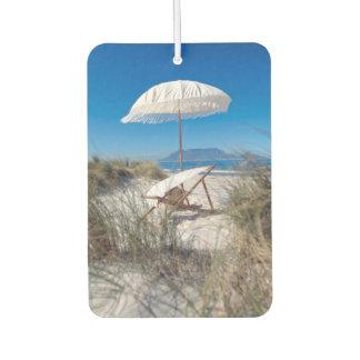 Umbrella And Chair On Beach Car Air Freshener