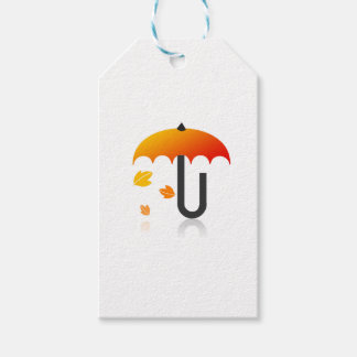 Umbrella and leaves gift tags