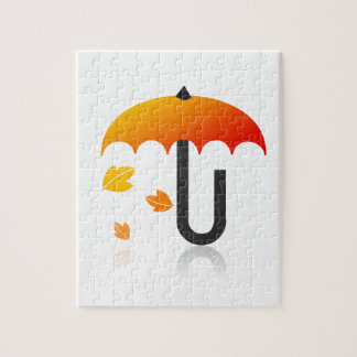 Umbrella and leaves jigsaw puzzle