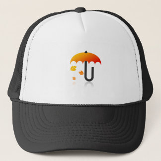 Umbrella and leaves trucker hat