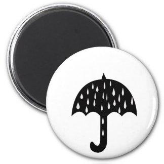 Umbrella and raining 2 inch round magnet