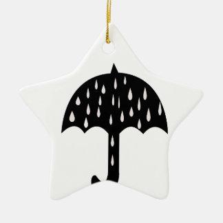 Umbrella and raining ceramic star ornament
