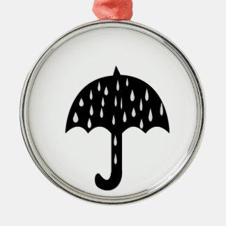 Umbrella and raining metal ornament