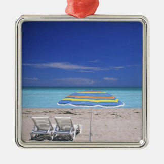 Umbrella and two lounge chairs on beach, Miami Metal Ornament