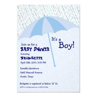 Umbrella Baby Shower Blue Invitation
