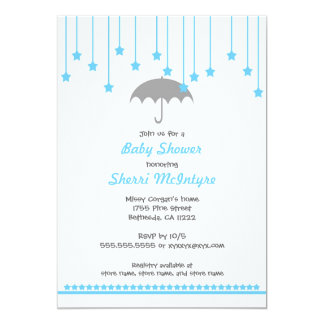 Umbrella Baby Shower Invite in Blue and gray