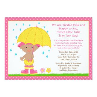 Umbrella Baby Sprinkle Shower African American Card