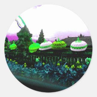 Umbrella Bali Colour Splash Lime Classic Round Sticker