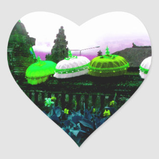 Umbrella Bali Colour Splash Lime Heart Sticker