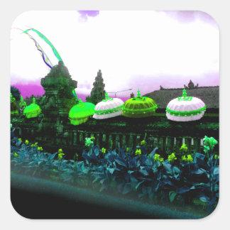 Umbrella Bali Colour Splash Lime Square Sticker