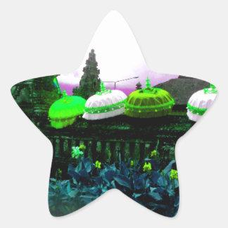 Umbrella Bali Colour Splash Lime Star Sticker