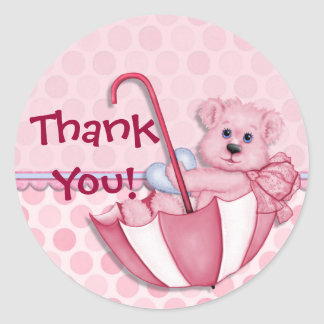 Umbrella Bear Pink Baby Thank You Classic Round Sticker