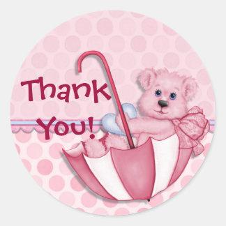 Umbrella Bear Pink Baby Thank You Round Sticker