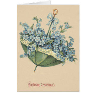 Umbrella Blue Forget-Me-Not Card