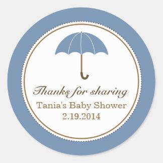 Umbrella Blue Round Sticker