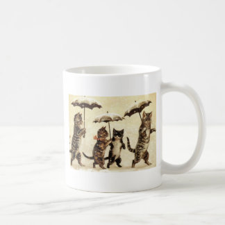 Umbrella Cat Parade Cat Artwork by Louis Wain Coffee Mug