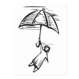 Umbrella Flying Postcard
