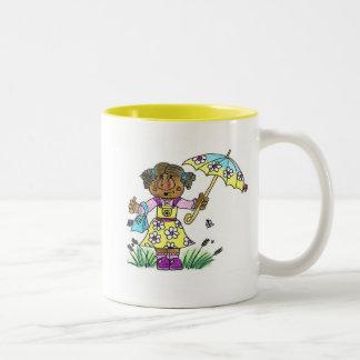 Umbrella Girl Two-Tone Coffee Mug
