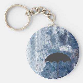 Umbrella in Blue Shower Basic Round Button Keychain