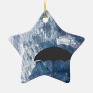 Umbrella in Blue Shower Ceramic Ornament