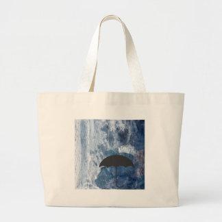 Umbrella in Blue Shower Large Tote Bag