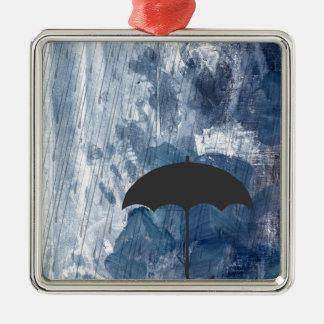 Umbrella in Blue Shower Metal Ornament