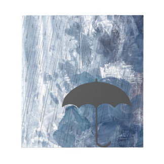 Umbrella in Blue Shower Notepad
