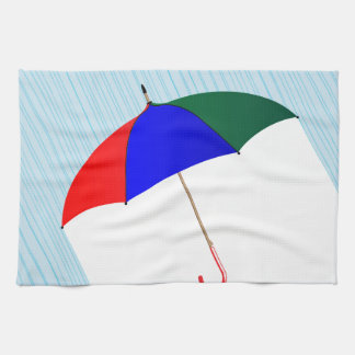Umbrella In The Rain Kitchen Towel