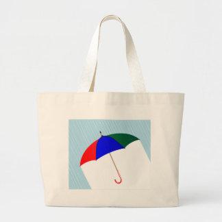 Umbrella In The Rain Large Tote Bag