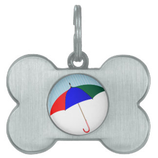 Umbrella In The Rain Pet Name Tag
