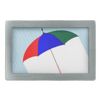 Umbrella In The Rain Rectangular Belt Buckle