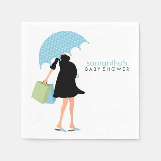 Umbrella Mommy Baby Shower {blue} Disposable Napkins