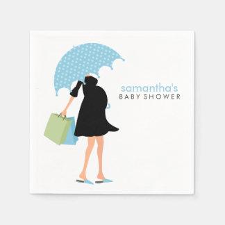 Umbrella Mommy Baby Shower {blue} Paper Napkin